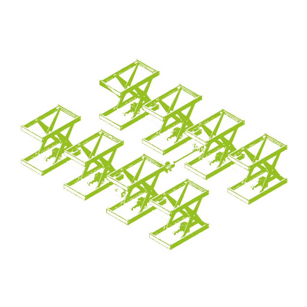 Combinazione tavolo elevatore a forbice